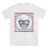 white t-shirt with skull wearing sunglasses in US flag motif