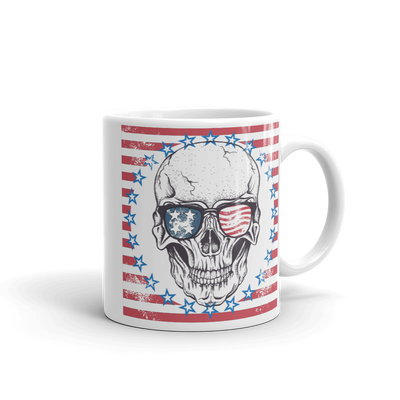 white 11 oz coffe mug with skull American flag print