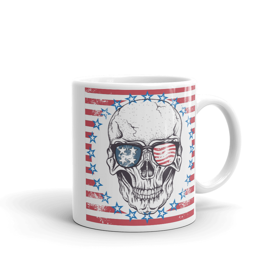 stars and stripes surround skull wearing flag sunglasses on coffee mug