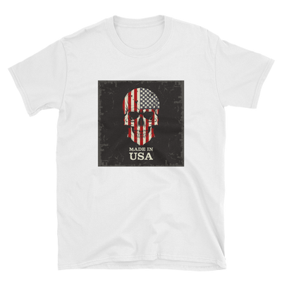 white t-shirt with American flag print on skull face