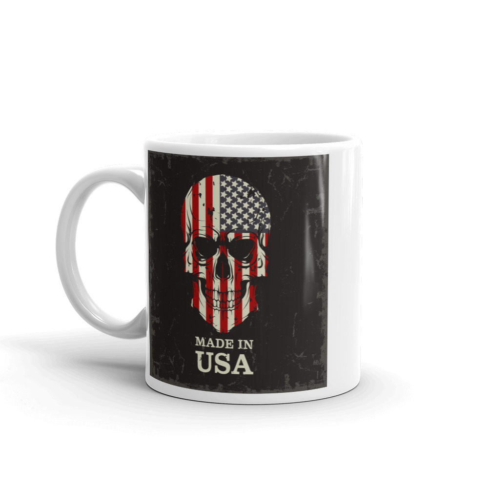 American flag print on skull coffee mug