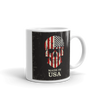 coffee mug with handle on the right US flag skull print made in USA