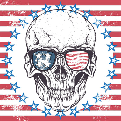 red stripes and blue stars surrounding a skull wearing American flag sunglasses