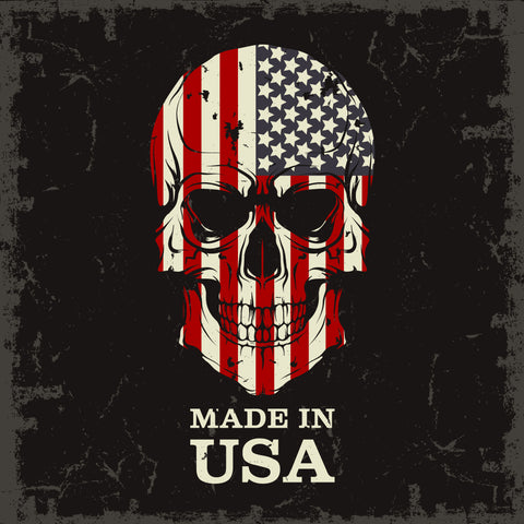 American Flag on Skull Made in USA text