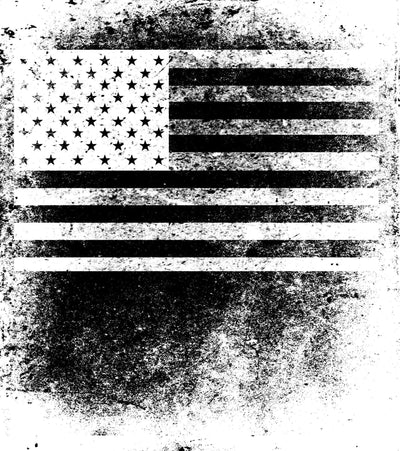 US flag in black and white fingerprint image