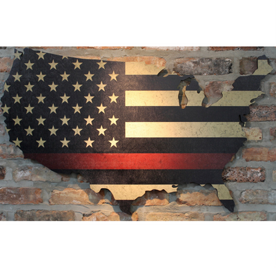 Thin Red Line print American flag on US wooden map on brick wall