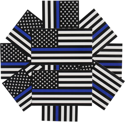 artsy display of 10-pack police decals for autos boats cars and trucks