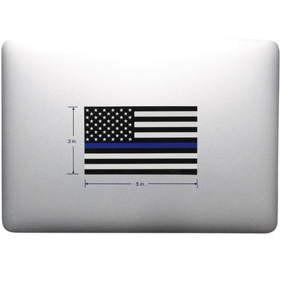 Thin Blue Line Sticker on Laptop