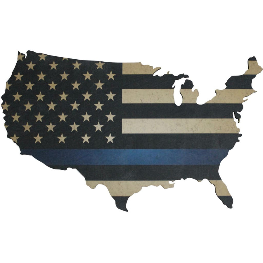 US MAp with Thin Blue Line Flag print on wood