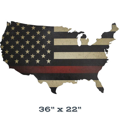 Thin Red Line Flag print on wood US map