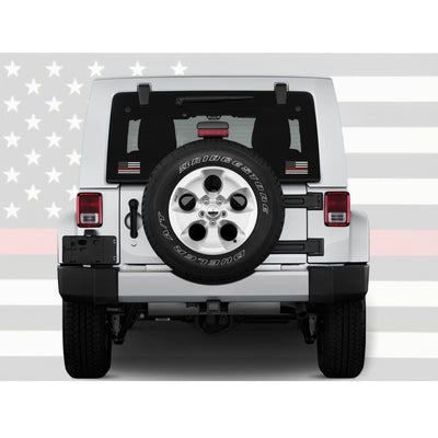 Thin red line decal on jeep