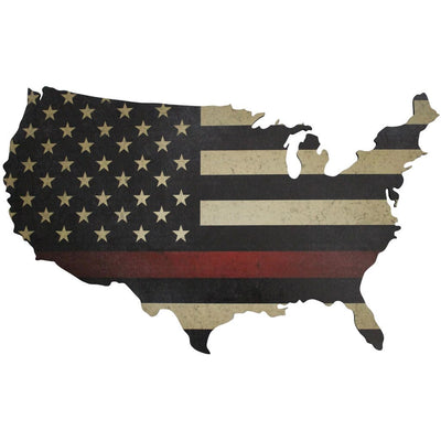 Thin Red Line Map Wall Art