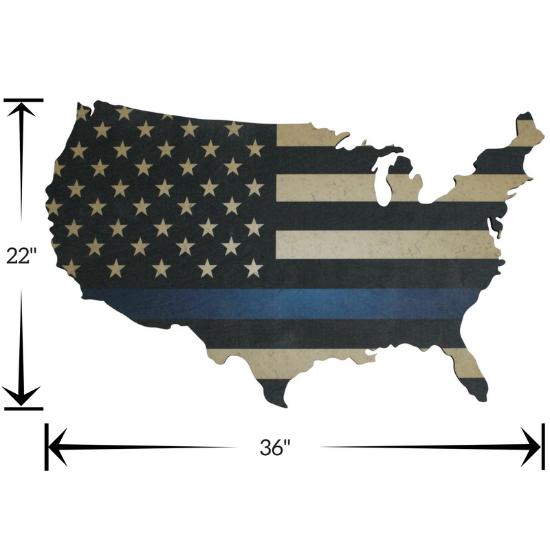 Thin Blue Line American Flag Printed on wood US map