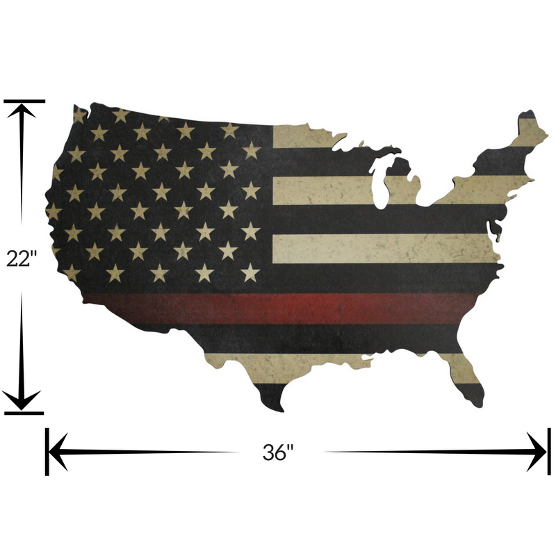 Thin Red Line American Flag print on USA wooden map