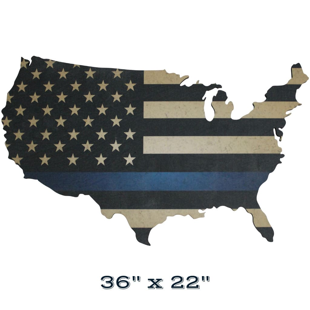 Thin Blue Line Flag Print on Wood