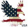 Eagle landing with American flag print