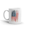 grunge print of American flag on white coffee mug