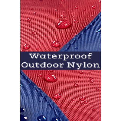 close up of water droplets on waterproof nylon flag