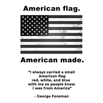 American flag graphic with George Foreman quote