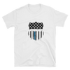 white t-shirt with American flag print on cop badge shape