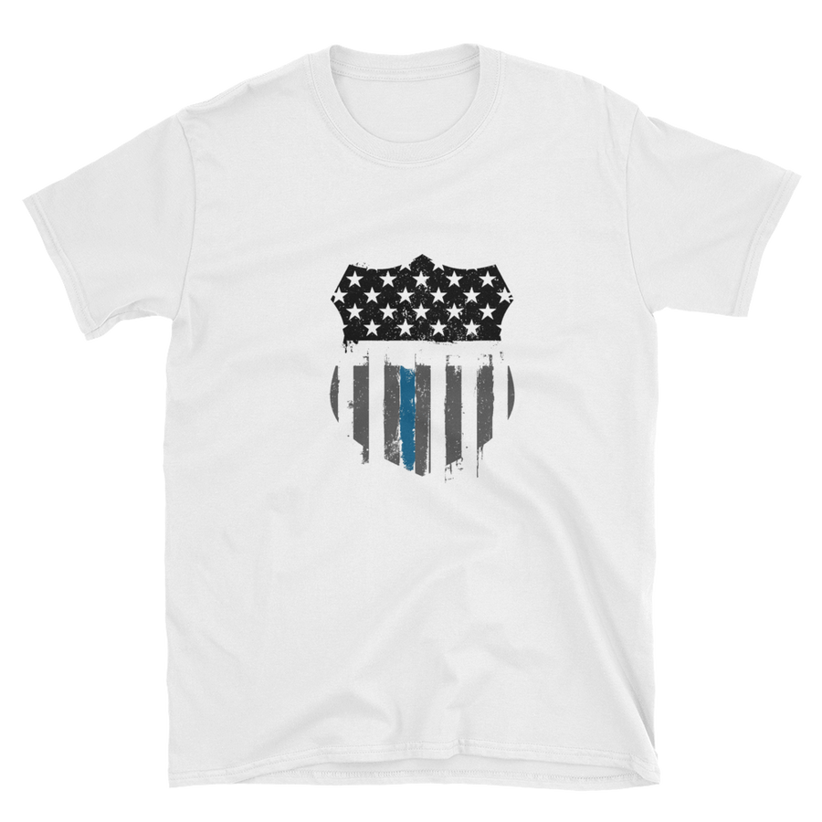 Police badge shape printed with thin blue line stars and stripes