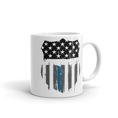 black white stars blue stripe on coffee mug 11 oz