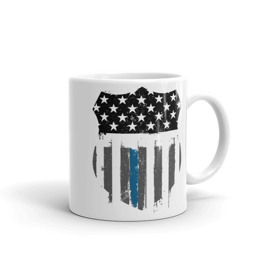 white coffee mug printed with black white and blue thin blue line badge design