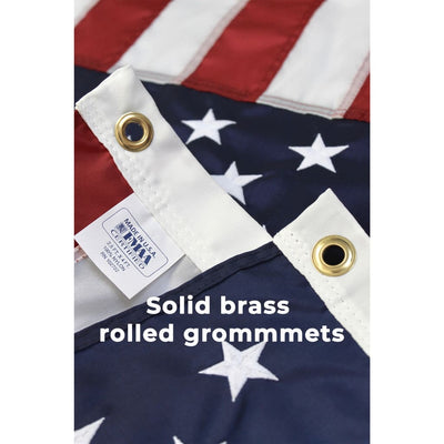 brass grommet close up on 2.5x4 foot US flag