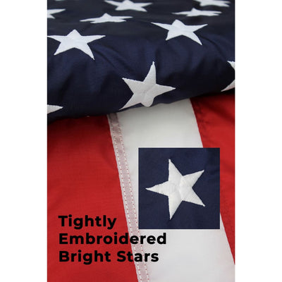 embroidered stars on 3x5 American flag