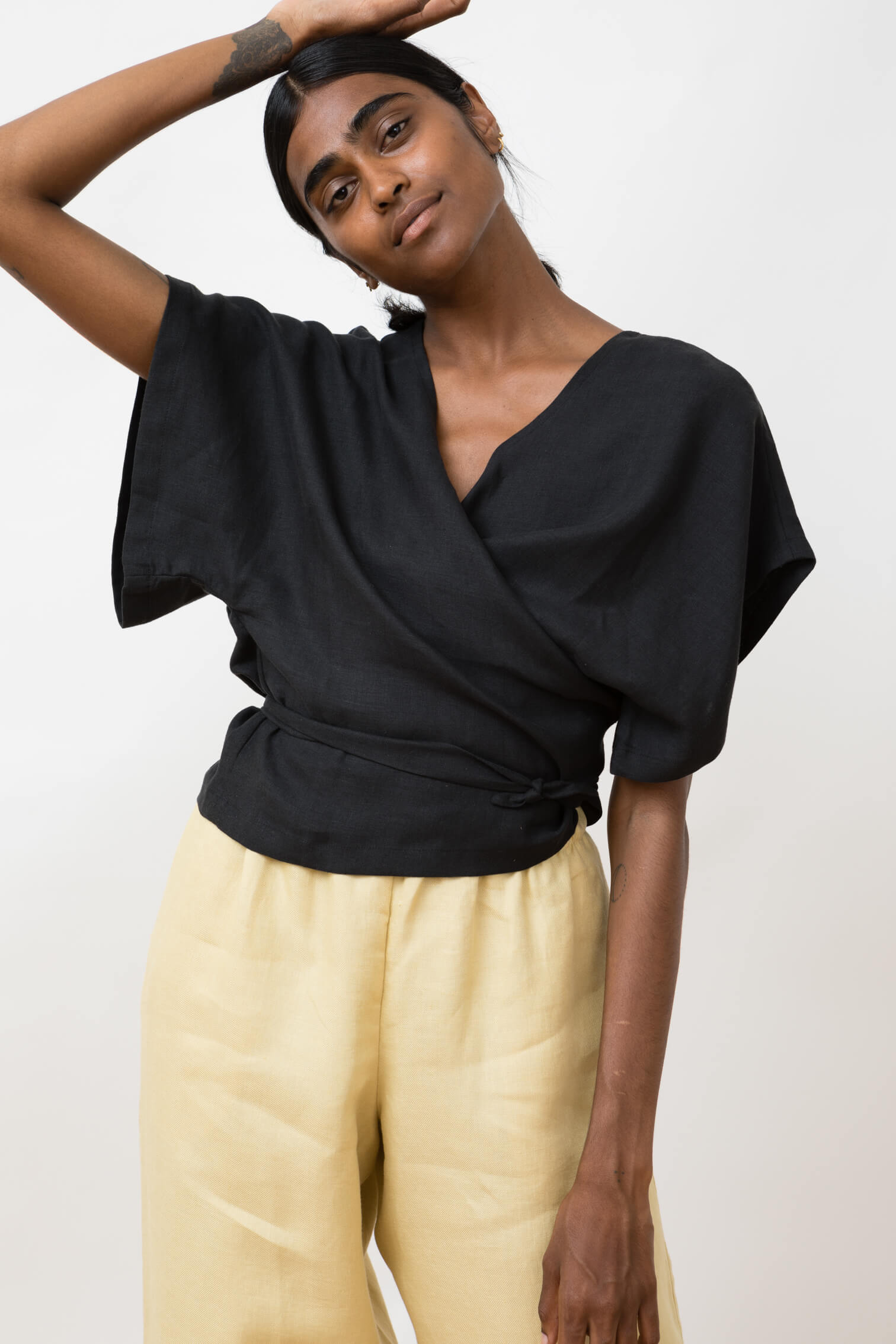wrap blouse - lola - black