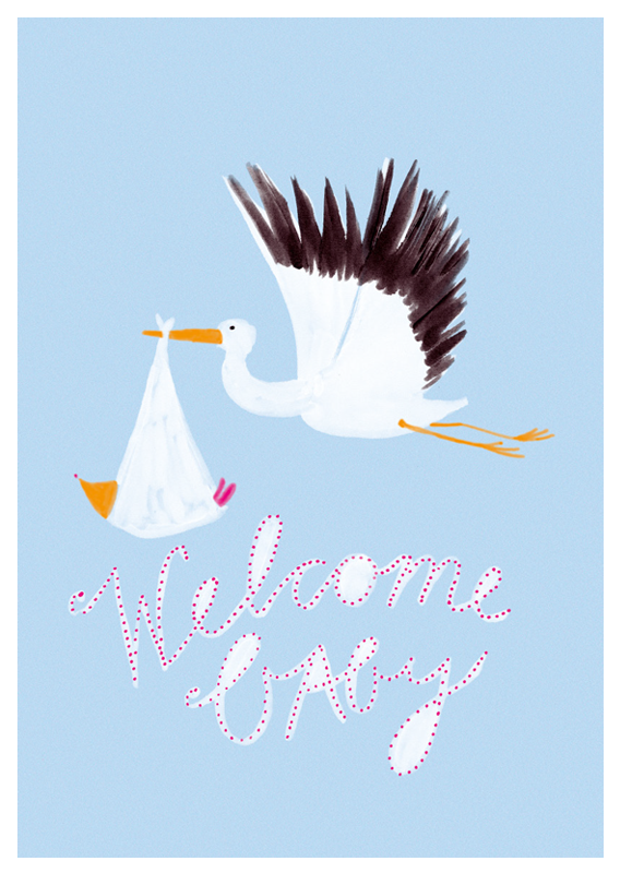 postcard - welcome baby - collab zürich
