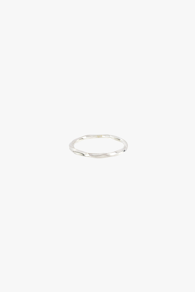 ring - hammered stacking ring - silver