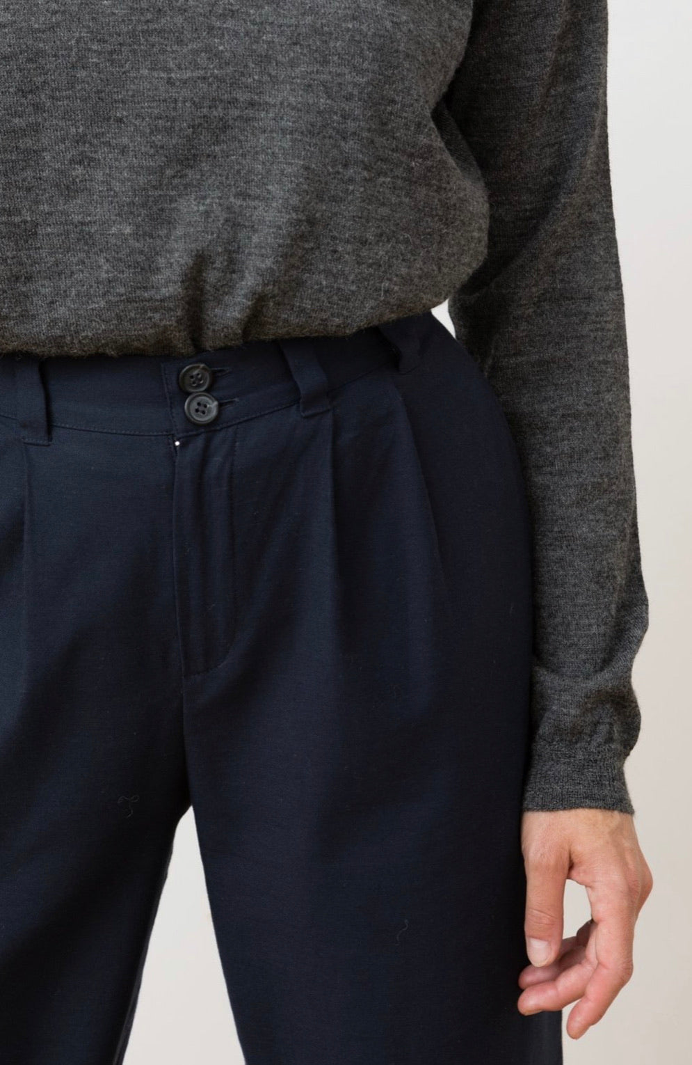 cotton trousers - duoro - navy blue