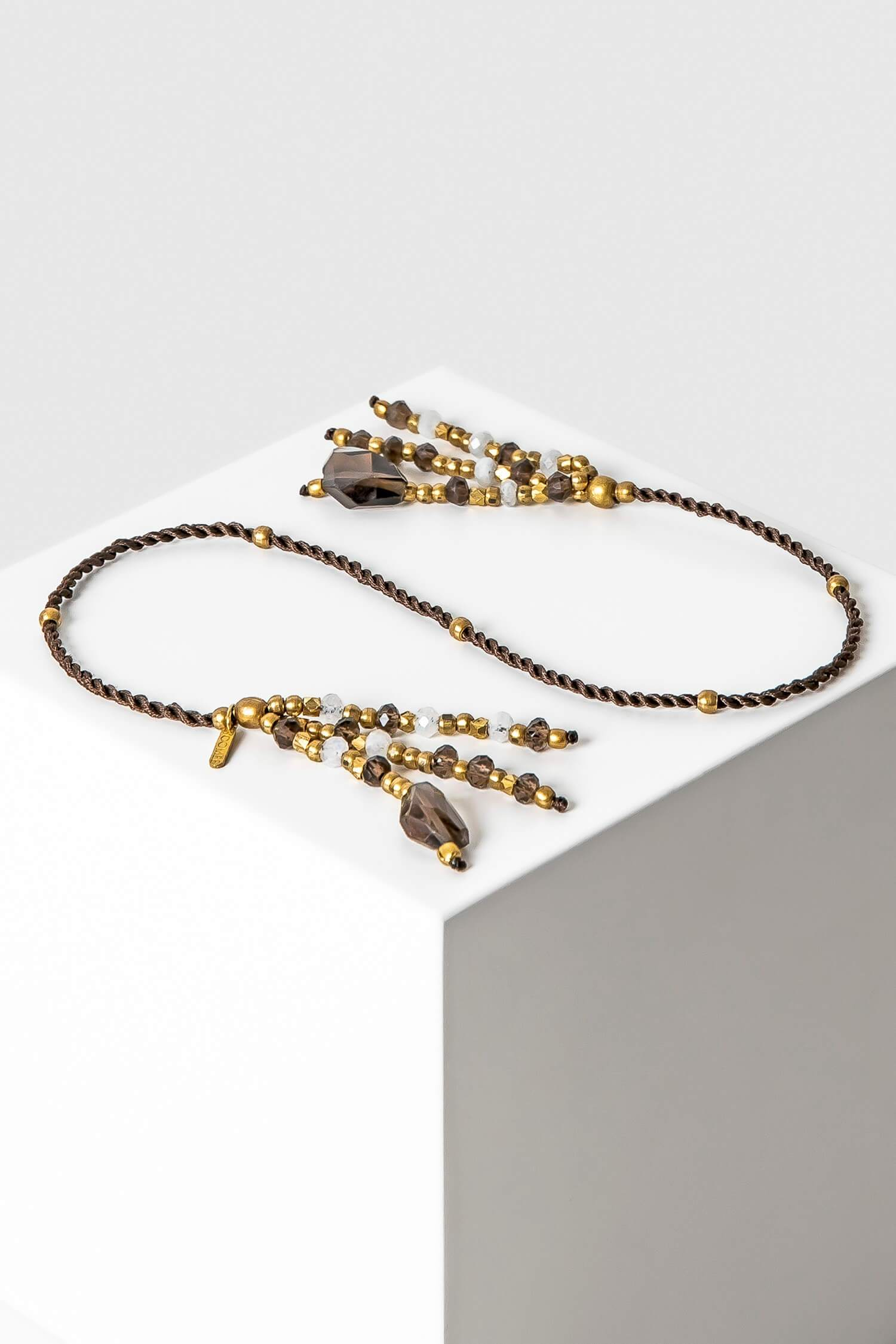 bookmark - nimdiki - stone tassels - smoky quartz