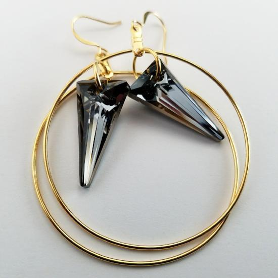 Jean Paul Gaultier Silver Night Swarovski Dagger Hoops
