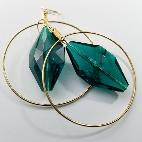 """Green with Envy"" Vintage Hoop Earrings"