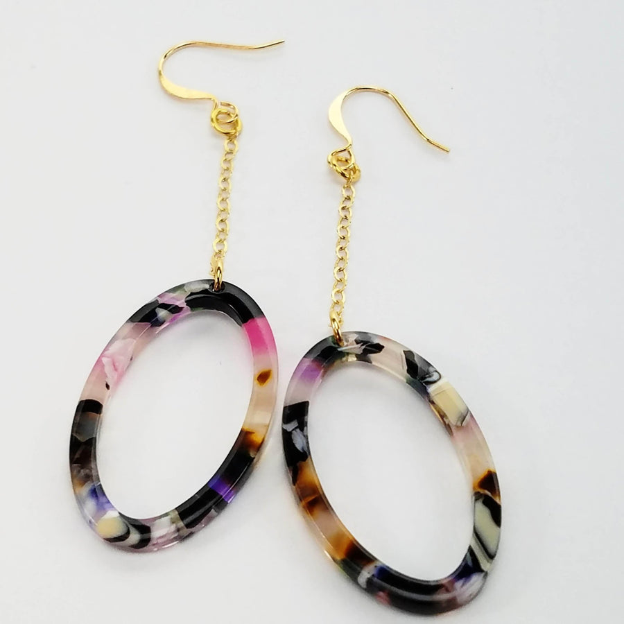 Petite Italian Resin Hoop Earrings Verdier Jewelry