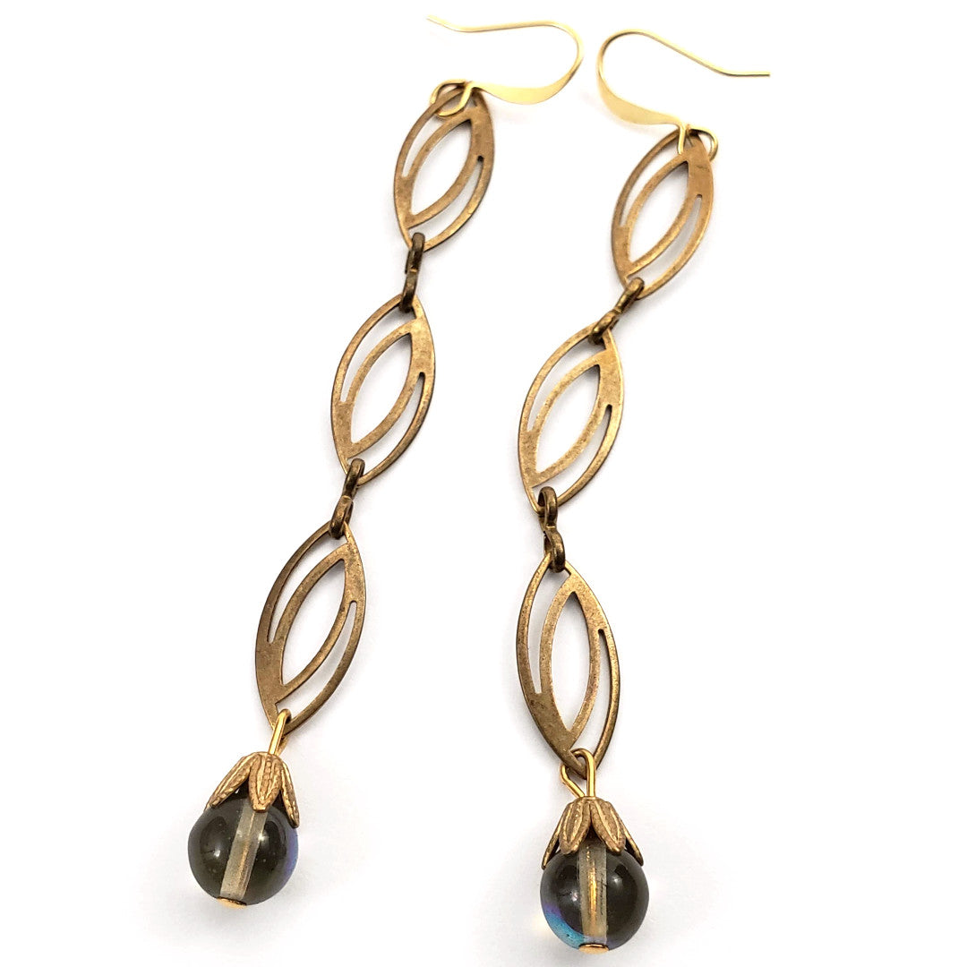 Verdier Retro Black Diamond Drop Earrings