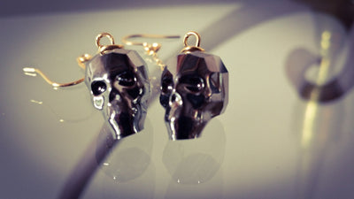 Swarovski Crystal Silver Night Skull Earrings