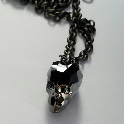 Crystal Silver Night Skull Necklace