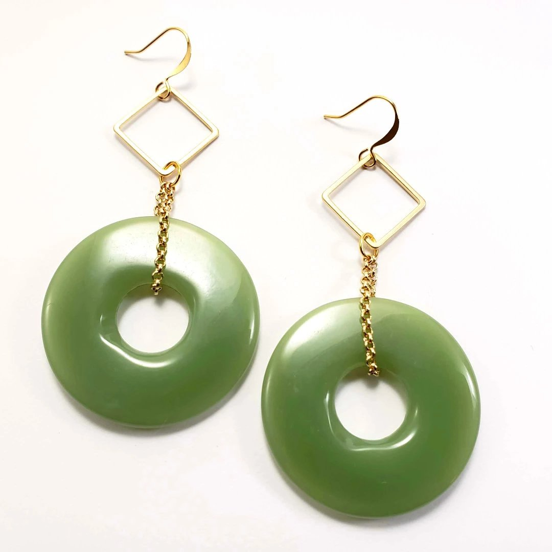 Verdier Retro Mint Hoop Earrings