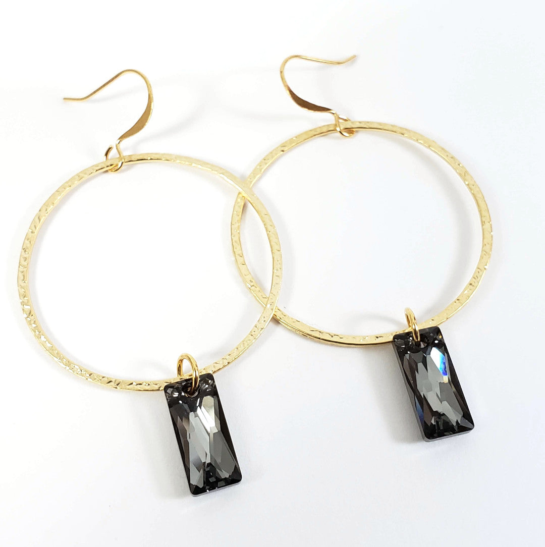 Hammered Gold Ring Earrings with Swarovski Baguette Crystals