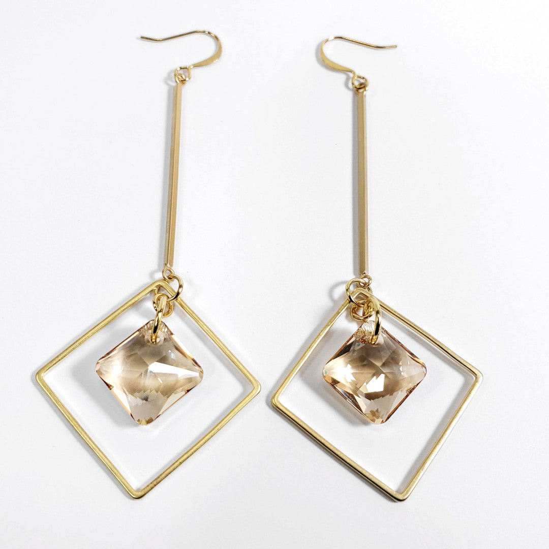 Verdier Princess Cut Golden Geo Drop Earrings