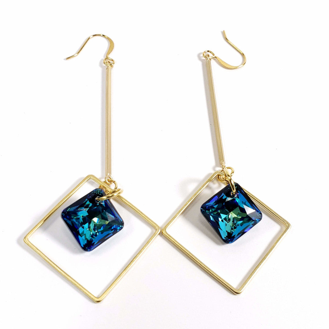 Verdier Princess Cut Bermuda Geo Drop Earrings