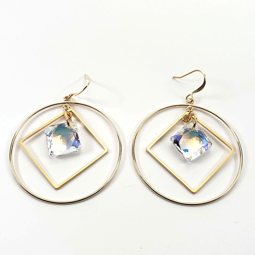 Swarovski AB Princess Hoop Earrings
