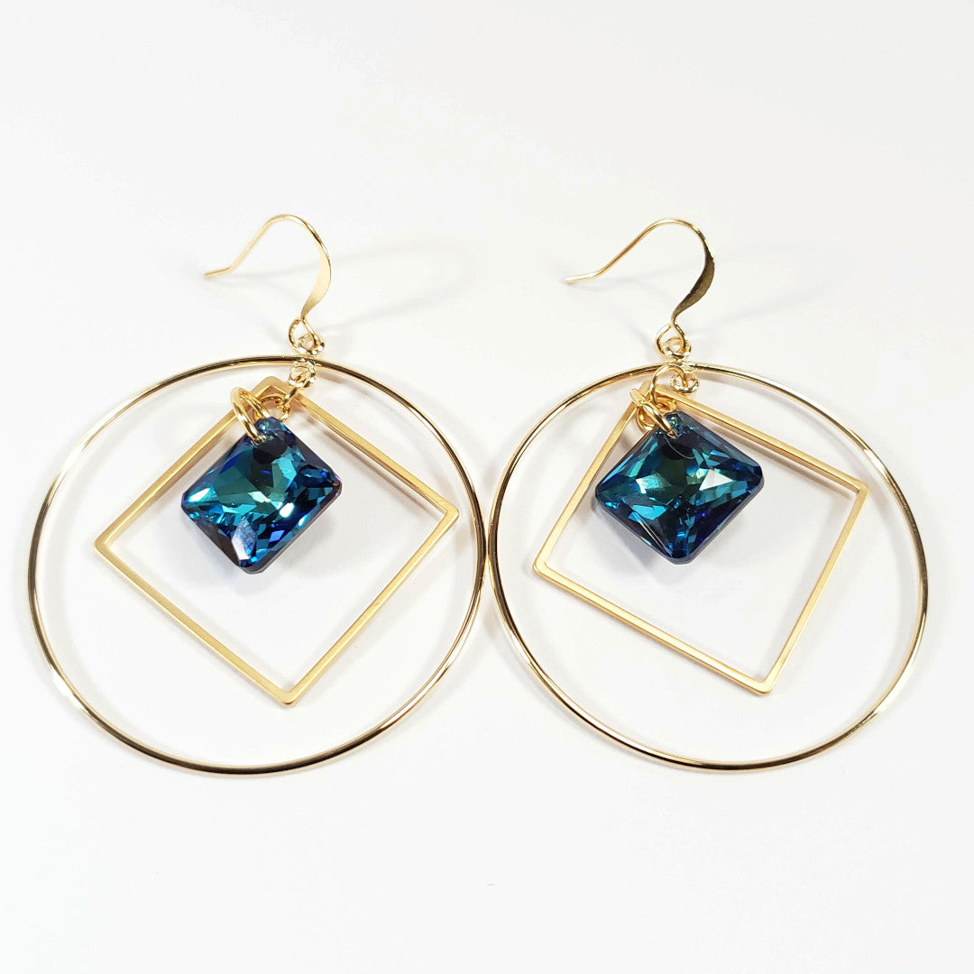 Swarovski Bermuda Blue Princess Hoop Earrings
