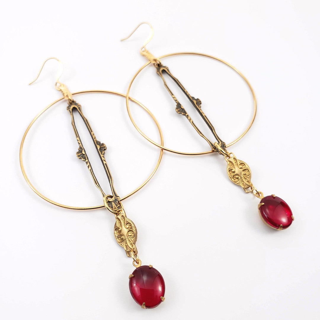 Verdier Vintage Ruby Glass Hoop Earrings