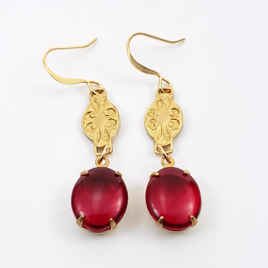 Verdier Retro Ruby Drop Earrings