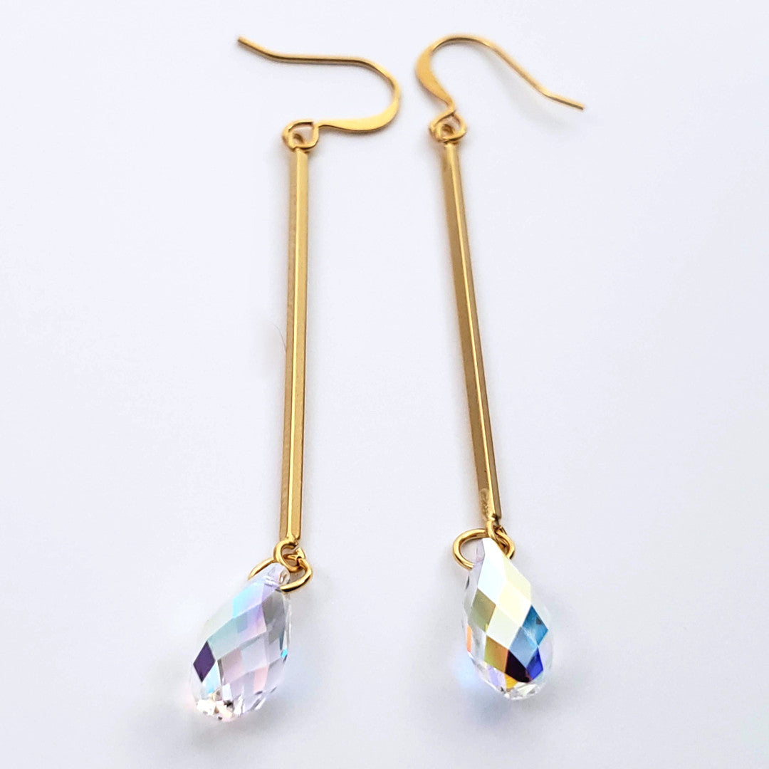 Verdier AB Crystal Earrings on Gold