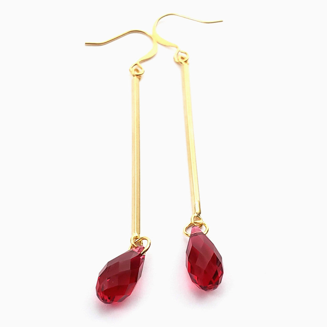 Verdier Swarovski Ruby Crystal Earrings